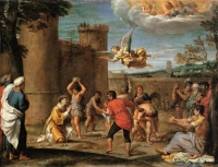 The Stoning of St Stephen - lukisan oleh Annibale Carracci (1560–1609)