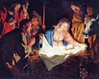 Adoration of the Shepherds - lukisan oleh Gerard Van Honthorst
